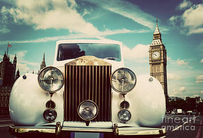 Photograph - Retro Car, Limousine Next To Big Ben, London, The Uk by Michal Bednarek