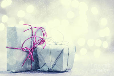 Photograph - Retro Gifts, Present Boxes On Glitter Background. Christmas by Michal Bednarek