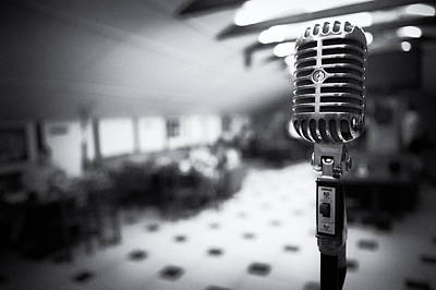 Restaurant Equipment Abstract Photograph - Retro Microphone On A Blur Background Bw by Sergey Nosov