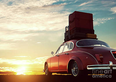 Photograph - Retro Red Car With Luggage On Roof Rack At Sunset. Travel, Vacation Concepts. by Michal Bednarek