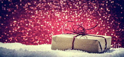 Box Photograph - Retro Rustic Christmas Gift, Present In Snow On Glitter Background by Michal Bednarek