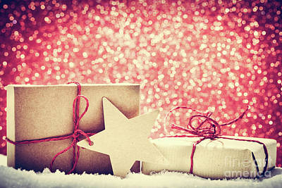 Photograph - Retro Rustic Christmas Gifts, Presents In Snow On Glitter Background by Michal Bednarek