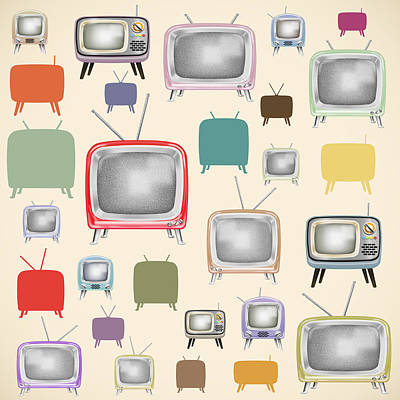 Old-fashioned Painting - retro TV pattern  by Setsiri Silapasuwanchai