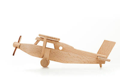Plane Photograph - Retro Wooden Airplane Isolated On White Background by Michal Bednarek