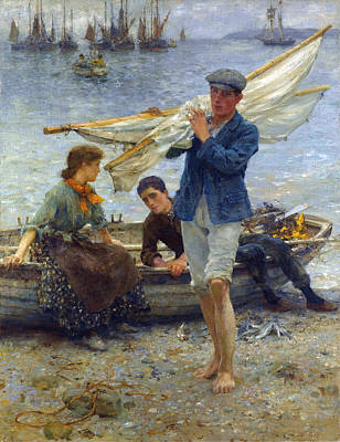 Painting - Return From Fishing by H Tuke