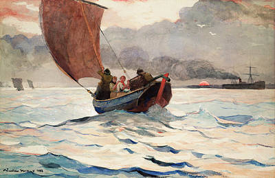 Winslow Homer Drawing - Returning Fishing Boats by Winslow Homer