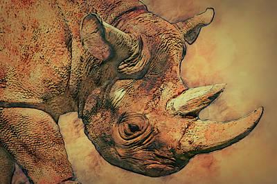 Digital Manipulation Painting - Rhino 5 by Jack Zulli