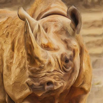 Rhinoceros Painting - Rhino by Jack Zulli