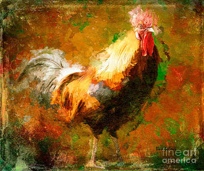 Digital Art - Rhode Island Red Rooster by Tina LeCour
