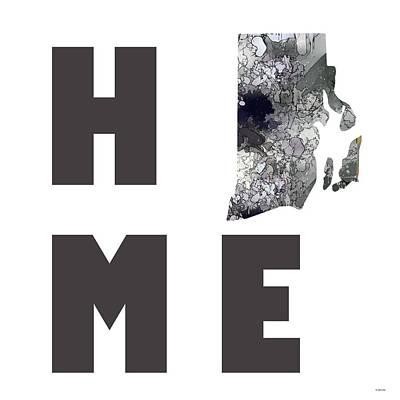 Digital Art - Rhode Island State Map by Marlene Watson