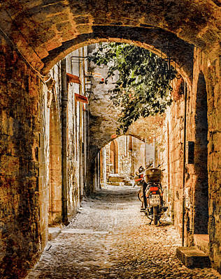 Photograph - Rhodes, Greece - Rhodian Street by Mark Forte