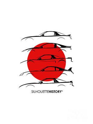 Honda Digital Art - Rice Bomber Silhouettehistory by Gabor Vida