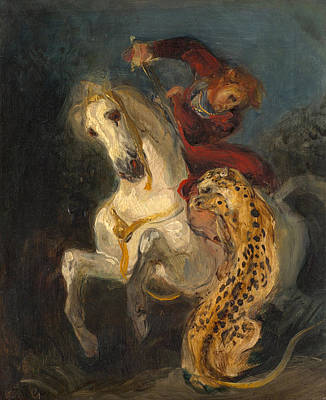 Amusement Ride Painting - Rider Attacked By A Jaguar by Eugene Delacroix