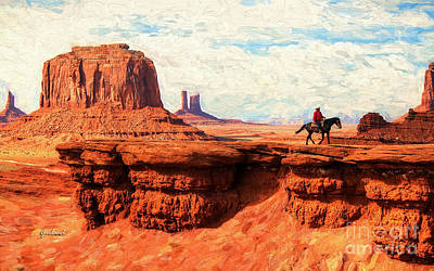 Sandstone Mixed Media - Rider In The Sky by Garland Johnson