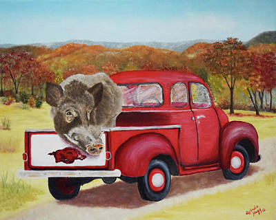 University Of Arkansas Wall Art - Painting - Ridin' With Razorbacks 2 by Belinda Nagy
