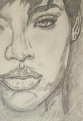Rihanna Drawing - Rihanna 3 by Collin A Clarke