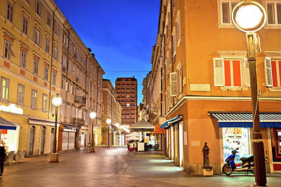 Photograph - Rijeka Main Square Korzo Evening View by Brch Photography