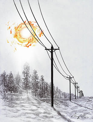 Telephone Poles Drawing - Ring Of Fire In A Display Of Power by Chad Glass
