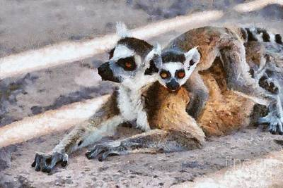 Lemur Painting - Ring Tailed Lemur With Baby by George Atsametakis
