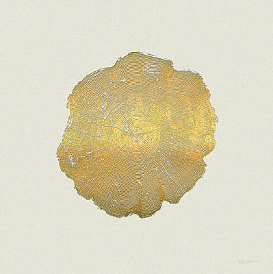 Natural Photograph - Rings Of A Tree Trunk Cross-section In Gold On Linen  by Serge Averbukh