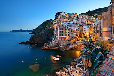 Photograph - Riomaggiore Waterfront Night by Songquan Deng