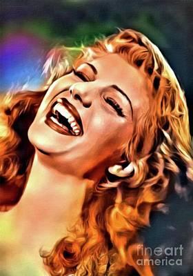 Rita Hayworth, Vintage Actress. Digital Art By Mary Bassett Art Print