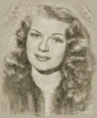 John Wayne Drawing - Rita Hayworth Vintage Hollywood Actress by Frank Falcon