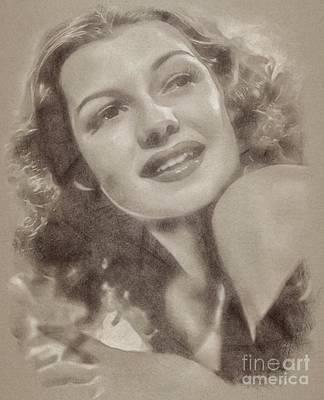 Wizard Drawing - Rita Hayworth Vintage Hollywood Actress by John Springfield