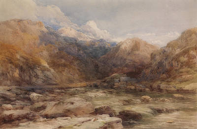 Painting - River Landscape In Wales by David Cox