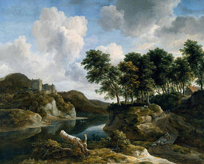 Agricultural Painting - River Landscape With A Castle On A High Cliff by Jacob van Ruisdael