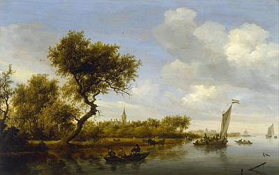 Riverside Painting - River Landscape With A Church In The Distance by Salomon van Ruysdael