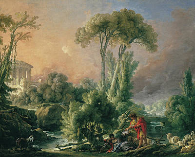 Cattle Dog Painting - River Landscape With An Antique Temple by Francois Boucher