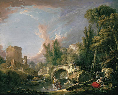 Wreck Painting - River Landscape With Ruin And Bridge by Francois Boucher