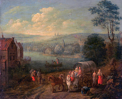Painting - River Landscape With Villages And Travelers  by Follower of Peeter Gysels