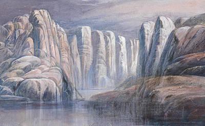 Drawing - River Pass, Between Barren Rock Cliffs by Edward Lear
