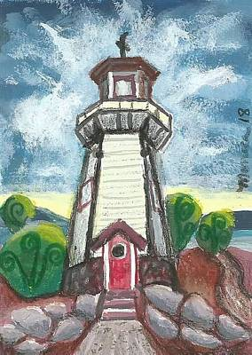 Painting - River Rouge Memorial Lighthouse by Monica Resinger