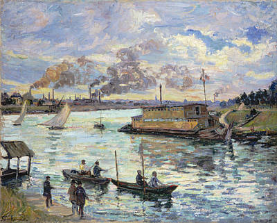 Boating Painting - River Scene by Armand Guillaumin