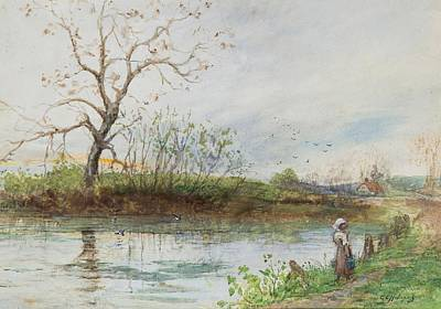 Charles River Painting - River Scene by Charles Edward