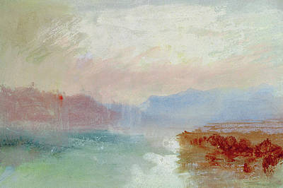 Beach Landscape Drawing - River Scene by Joseph Mallord William Turner