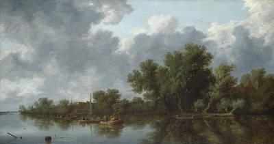 River Scene Art Print by Salomon van Ruysdael