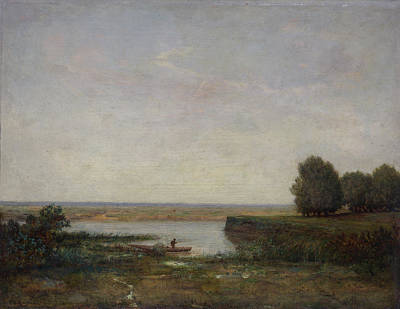 Angling Painting - River Scene by Theodore Rousseau