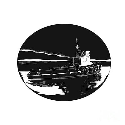 River Tugboat Oval Woodcut Print by Aloysius Patrimonio