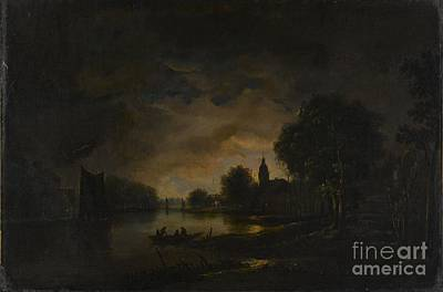 River View Painting - River View By Moonlight by Celestial Images