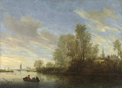 Angling Painting - River View In Deventer by Salomon van Ruysdael