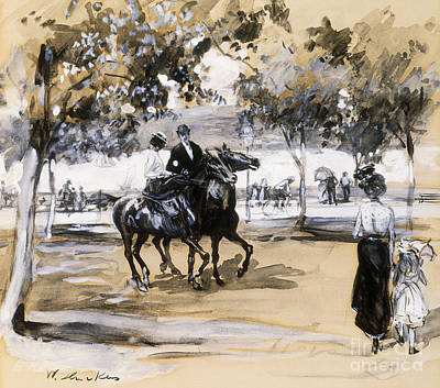 Pleasure Horse Painting - Riverside Drive by William James Glackens