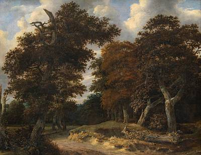 Pathway Painting - Road Through An Oak Forest by Jacob van Ruisdael
