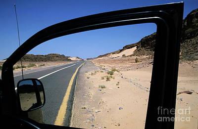 Road  View Through Car Door Window Art Print