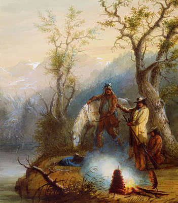 Hump Painting - Roasting The Hump Rib by Alfred Jacob Miller