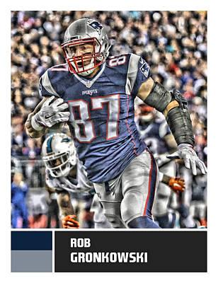 New England Mixed Media - Rob Gronkowski New England Patriots by Joe Hamilton