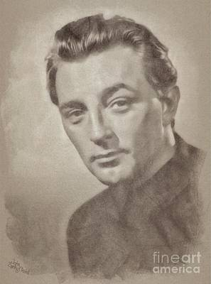 Musicians Drawings Rights Managed Images - Robert Mitchum Hollywood Actor Royalty-Free Image by John Springfield